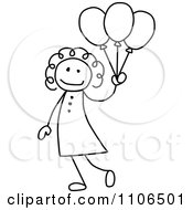 Black And White Stick Drawing Of A Happy Girl With Party Balloons