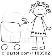 Black And White Stick Drawing Of A Happy Girl With A Shopping Cart