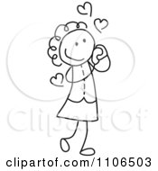 Black And White Stick Drawing Of A Girl In Love