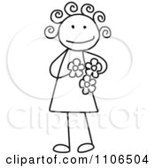 Black And White Stick Drawing Of A Happy Girl Holding Flowers