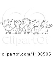 Black And White Stick Drawing Of Multi Ethnic Children Holding Hands