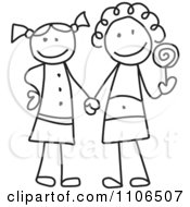 Clipart Black And White Stick Drawing Of Two Best Friend Girls Holding Hands And A Loli Pop Royalty Free Vector Illustration
