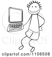 Black And White Stick Drawing Of A Tech Boy By A Computer