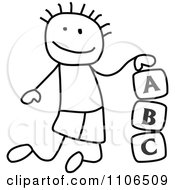 Black And White Stick Drawing Of A Boy Playing With Letter Alphabet Blocks