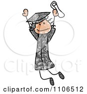 Stick Drawing Of A Happy Black Graduate Girl Jumping