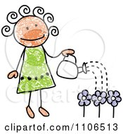 Clipart Stick Drawing Of A Happy Girl Watering Flowers In Her Garden Royalty Free Vector Illustration