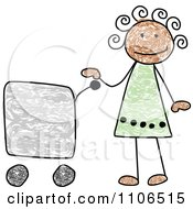 Stick Drawing Of A Happy Black Girl With A Shopping Cart