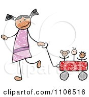 Stick Drawing Of A Happy Hispanic Girl Pulling Her Toys In A Wagon