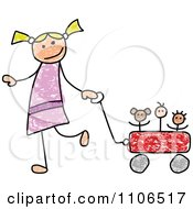 Stick Drawing Of A Happy White Girl Pulling Her Toys In A Wagon