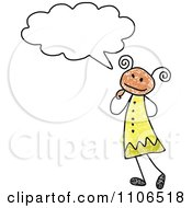 Stick Drawing Of A Hispanic Girl In Thought