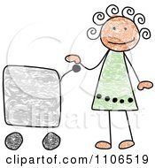 Stick Drawing Of A Happy Hispanic Girl With A Shopping Cart