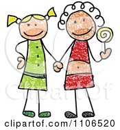Clipart Stick Drawing Of Two Best Friend Girls Holding Hands And A Loli Pop Royalty Free Vector Illustration