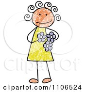 Stick Drawing Of A Happy Girl Holding Flowers