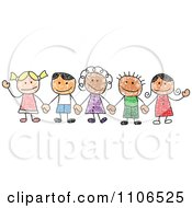 Clipart Stick Drawing Of Multi Ethnic Children Holding Hands Royalty Free Vector Illustration by C Charley-Franzwa #COLLC1106525-0078