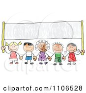 Clipart Stick Drawing Of Multi Ethnic Children Holding Hands Under A Banner - Royalty Free Vector Illustration by C Charley-Franzwa #COLLC1106528-0078