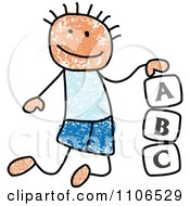 Stick Drawing Of A White Boy Playing With Letter Alphabet Blocks