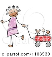 Clipart Stick Drawing Of A Happy Black Girl Pulling Her Toys In A Wagon - Royalty Free Vector Illustration by C Charley-Franzwa #COLLC1106530-0078