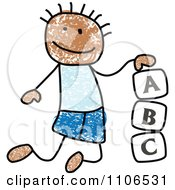 Stick Drawing Of A Black Boy Playing With Letter Alphabet Blocks