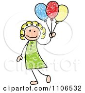 Clipart Stick Drawing Of A Happy White Girl With Party Balloons - Royalty Free Vector Illustration by C Charley-Franzwa #COLLC1106532-0078