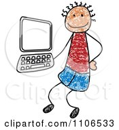 Clipart Stick Drawing Of A Tech Boy By A Computer - Royalty Free Vector Illustration by C Charley-Franzwa #COLLC1106533-0078