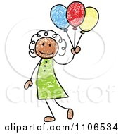 Clipart Stick Drawing Of A Happy Black Girl With Party Balloons - Royalty Free Vector Illustration by C Charley-Franzwa #COLLC1106534-0078