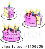 Clipart Pink Birthday Cakes And Candles Royalty Free Vector Illustration