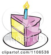 Clipart Pink Slice Of Birthday Cake With A Candle Royalty Free Vector Illustration