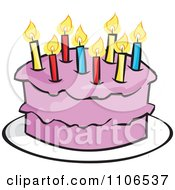 Clipart Pink Birthday Cake With A Candle Royalty Free Vector Illustration by Cartoon Solutions
