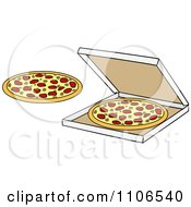 Clipart Pizza Pies And A Box Royalty Free Vector Illustration