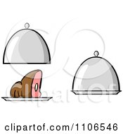 Clipart Ham Or Roast Beef And Platters Royalty Free Vector Illustration