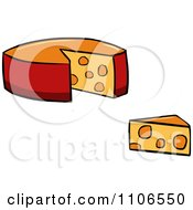 Clipart Wheel And Wedge Of Cheese Royalty Free Vector Illustration