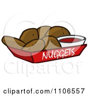 Clipart Tray Of Chicken Nuggets And Sauce Royalty Free Vector Illustration