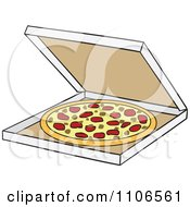 Clipart Delivery Pizza Pie In A Box Royalty Free Vector Illustration by Cartoon Solutions