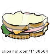 Clipart Bologna Sandwich With Missing Bites Royalty Free Vector Illustration
