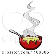 Clipart Steamy Bowl Of Soup Royalty Free Vector Illustration