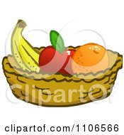 Clipart Banana Apple And Orange In A Basket Royalty Free Vector Illustration by Cartoon Solutions
