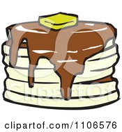 Clipart Stack Of Pancakes With Syrup And Butter Royalty Free Vector Illustration