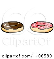 Clipart Chocolate And Pink Frosted Donuts Royalty Free Vector Illustration