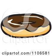 Clipart Chocolate Frosted Donut Royalty Free Vector Illustration