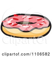 Clipart Pink Frosted Donut Royalty Free Vector Illustration