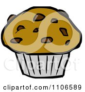 Clipart Chocolate Chip Muffin Royalty Free Vector Illustration