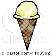 Clipart Vanilla Waffle Ice Cream Cone Royalty Free Vector Illustration