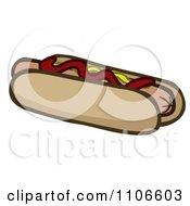 Clipart Hot Dog With Relish Ketchup And Mustard Royalty Free Vector Illustration