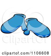 Clipart Blue Mittens Royalty Free Vector Illustration by Cartoon Solutions