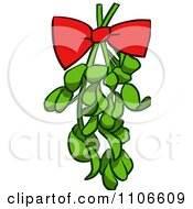 Red Bow On Christmas Mistletoe