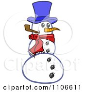 Clipart Christmas Snowman Smoking A Pipe Royalty Free Vector Illustration