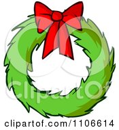 Clipart Christmas Wreath And Bow Royalty Free Vector Illustration