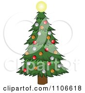 Clipart Christmas Tree And Glowing Star Royalty Free Vector Illustration