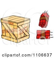 Clipart Dynamite Sticks And Crate Royalty Free Vector Illustration