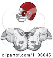 Clipart Football Helmet And Shoulder Pads Royalty Free Vector Illustration